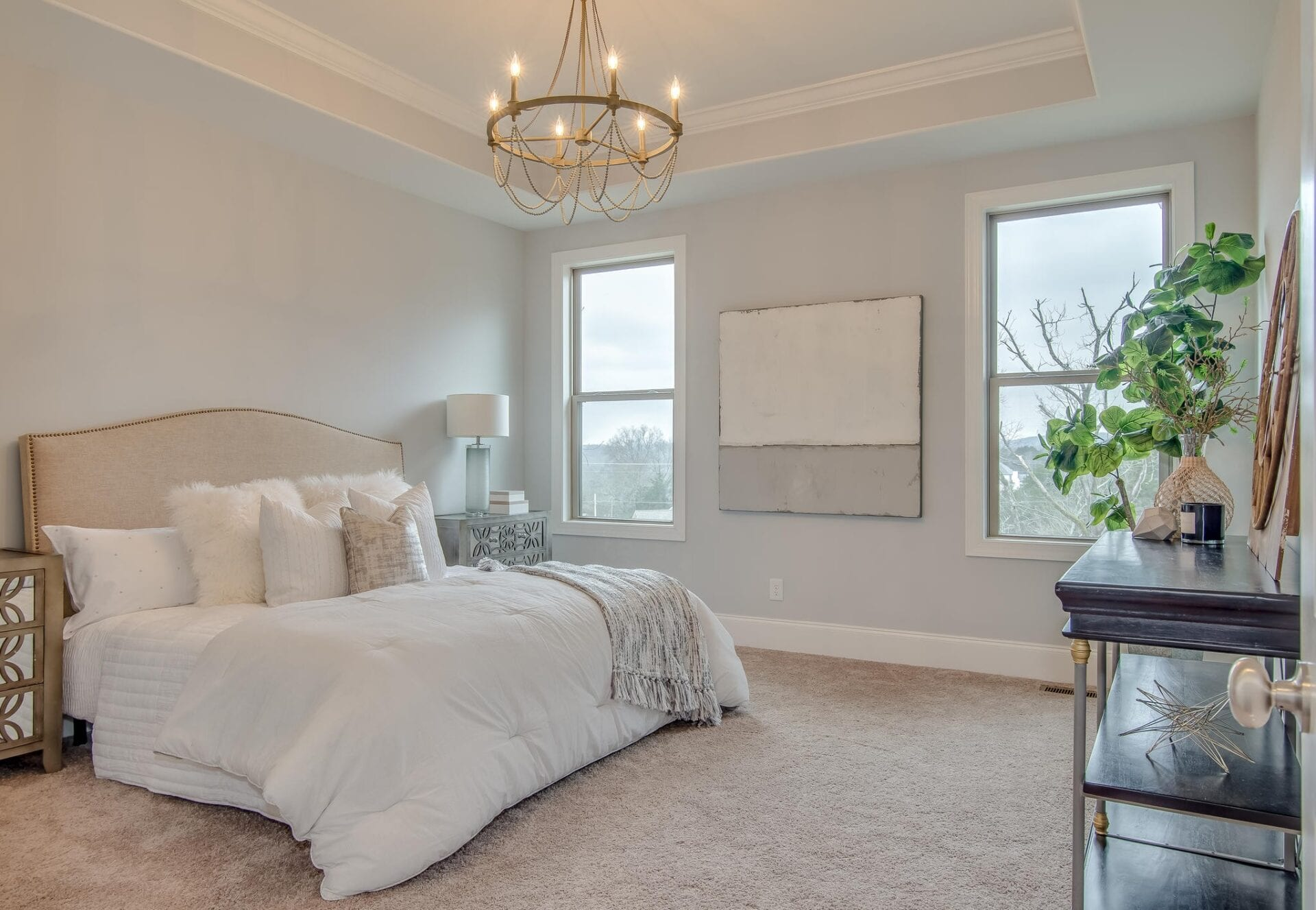 Elegant bedroom from New Home Communities and the First of the Final Home Orientation.